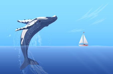 Skocz garbus duży ogromny wieloryb pobliżu małego jachtu łodzi statku. Ukryta moc oceanu