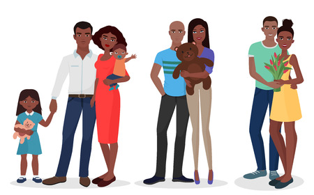 african american family: Black people family couple set. Man and woman