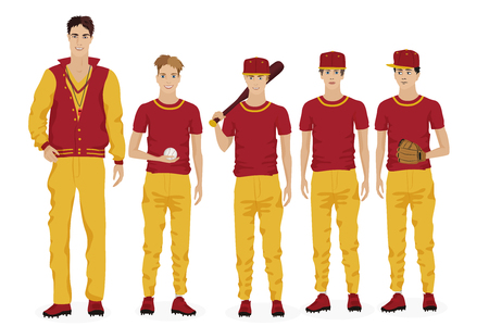 teammate: Young guys school baseball team with coach trainer. Vector illustration