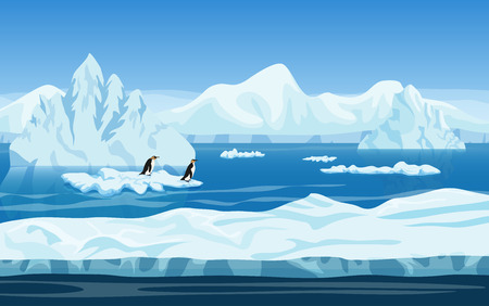 Cartoon nature winter arctic ice landscape with iceberg, snow mountains hills and penguins. Vector game style illustration. Background for games Vettoriali