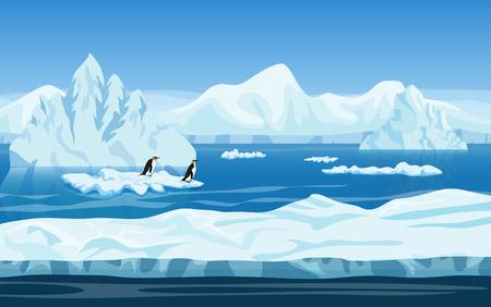 Cartoon natuur winter arctisch ijs landschap met ijsberg, sneeuw bergen heuvels en pinguïns. Vector spel stijl illustratie. Achtergrond voor games Stockfoto - 60316066
