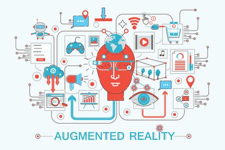 Conception de ligne mince plat moderne Concept de réalité augmentée pour le site Web de la bannière Web, présentation, dépliant et affiche