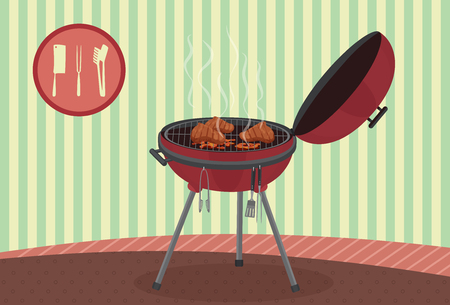 flame background: Kettle barbecue grill on vintage background. Picnic camping cooking. BBQ party banner