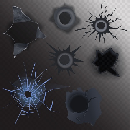 gunshot: bullet hole in glass and metal set on alpha transperant background. Realistic gunshot