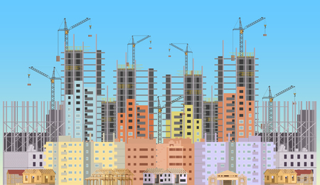 Building city under construction website with tower cranes. Constructions infographics template design Çizim