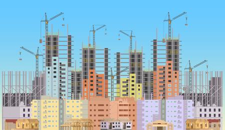 Building in aanbouw website met torenkranen. Constructions infographics template ontwerp