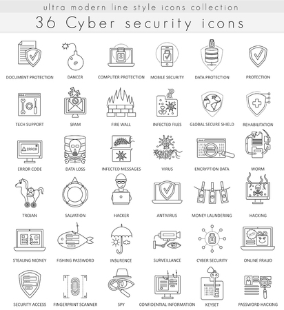 ultra modern: Vector Cyber security technology ultra modern outline line icons for web and apps