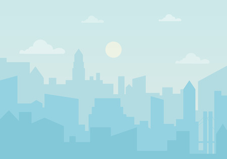 Sun day ozone in the city. Cityscape simple silhouette vector illustration Illustration