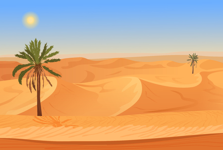 Cartoon nature sand desert landscape with palms, herbs and mountains. Vector seamless game style illustration