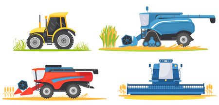 Farming agricultural machines and farm vehicles set. Farming machine harvester, combine and tractor Ilustração