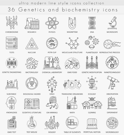 Vector Genetics and biochemistry technology ultra modern outline line icons for web and apps Illustration