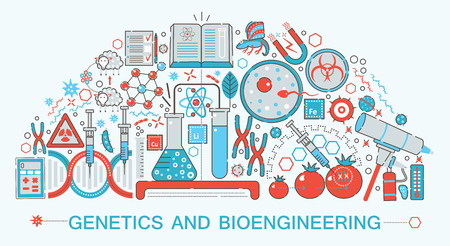 genetically: Modern Flat thin Line design biology, genetics and bioengineering technology science concept for web banner website, presentation, flyer and poster