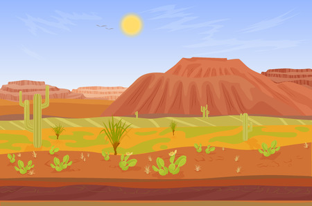 sand dunes: Seamless cartoon prairie desert Grand canyon landscape with rocks, cactuses, mountains and tree Illustration