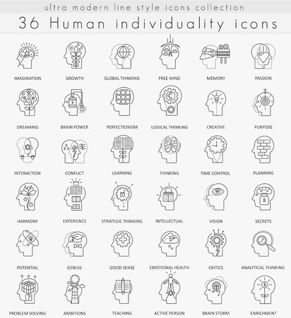 personality development: Vector Human mentality personality and individuality features ultra modern outline line icons for web and apps