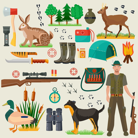 hunters: Hunter tourist man male tools and equipment stuff items set. Cartoon flat Hunting hunters icons collection