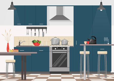 modern kitchen: Modern kitchen interior with furniture and cooking devices. Cartoon realistic flat design of kitchen