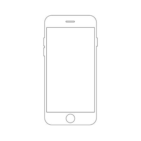 Contorno de dibujo concepto de teléfono inteligente. Diseño elegante de línea delgada