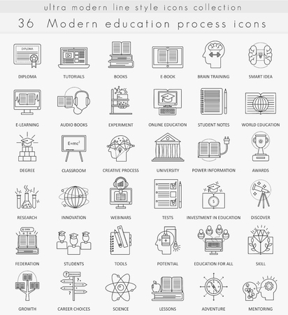 ultra modern: Vector Modern education ultra modern outline line icons for web and apps