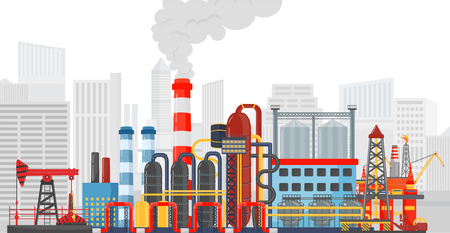 oil industry: Plant factory on the city background. Industrial factory landscape. Oil gas industry