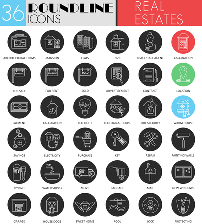 swimming pool home: Vector Real estates circle white black icon set. Modern line black icon design for web Illustration