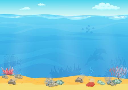 water weed: Cartoon sea bottom background for game design. Underwater empty seamless landscape