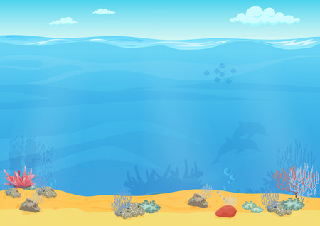 fondo de mar de fondo de dibujos animados para el diseño del juego. Paisaje subacuático transparente vacía Ilustración de vector