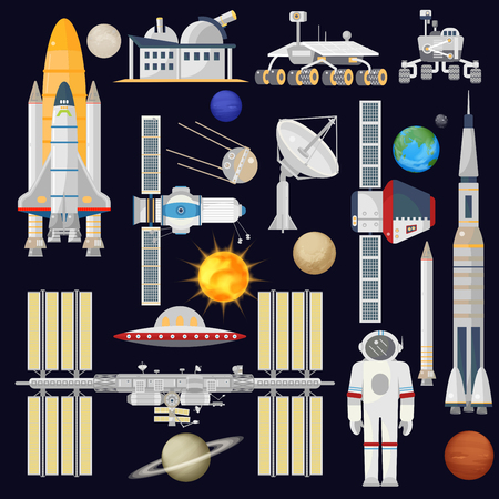 spacecraft: Spacecraft and space technology industry for infographic. Astronomy icon. Planets, Rockets, Satellites
