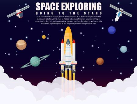 宇宙船ロケット打ち上げの探索と現実的な衛星と惑星の概念と研究。ビジネスのスタートアップ。ベクトル図