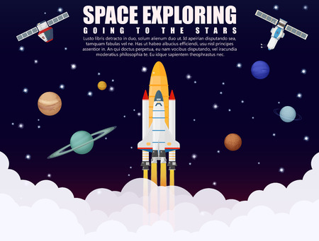 Space ship rocket launch exploring and research with realistic satellite and planets concept. Business startup. Vector illustration