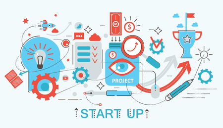 Modern Flat thin Line design Start up and development concept for web banner website, presentation, flyer and poster