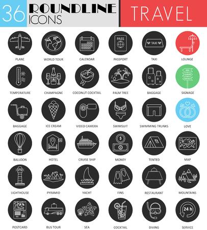 excursions: Vector Travel tourism circle white black icon set. Modern line black icon design for web