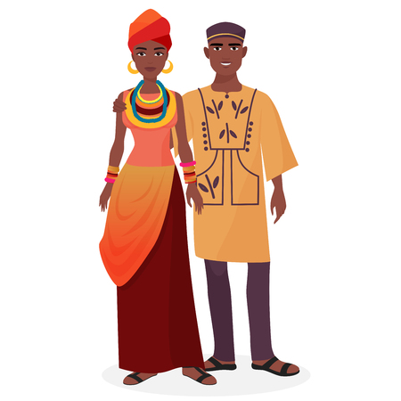 African family. African man and woman couple in traditional national clothes