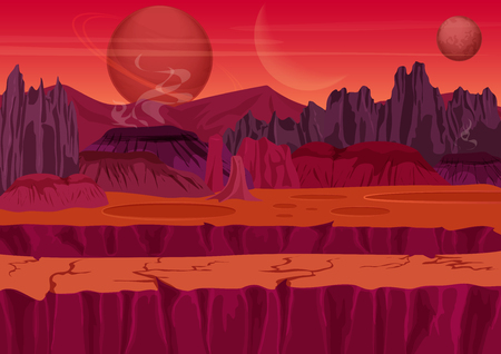 alien landscape: Fairy game Sci-fi Alien Landscape. Nature on another planet with mountains, rocks and planets in the sky. UI Gaming landscape Illustration
