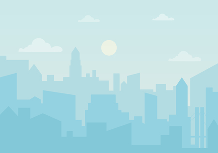 Sun day ozone in the city. Cityscape silhouette vector illustration 向量圖像