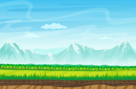 unending: Seamless cartoon landscape with rocks, mountains and grass. Landscape for game