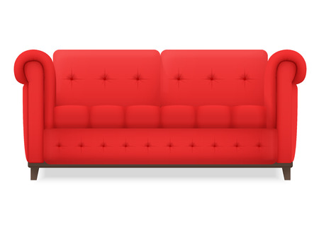 to furnish: Red Leather luxury vintage living room sofa. Single isolated vector object for design