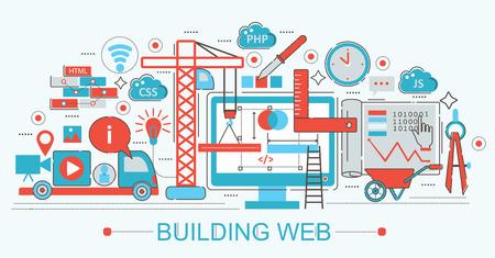 Modern Flat thin Line design Website building progress concept for web banner websites, presentation, flyer and poster Illustration