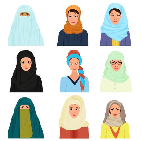 cabeza femenina: Vector árabe mujer carácter femenino islámico árabe se enfrenta a los avatares en diferente ropa y peinados