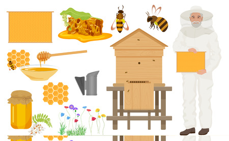 bee house: Beekeeping color icons set. Man beekeer in special uniform costume. Bee house and honey, flowers with bee, honeycomb