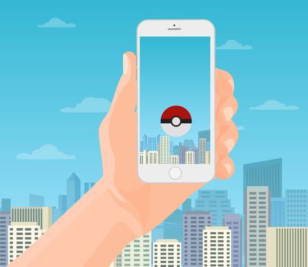handholding: Hand holding smartphone phone in modern city. Vector flat illustration