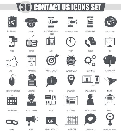 contact icon: Vector contact us support black icon set. Dark grey classic icon design for web Illustration