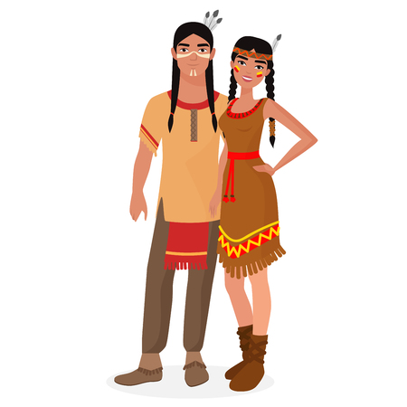 american: Native American Indian family. American Indians man and woman couple in traditional national clothes