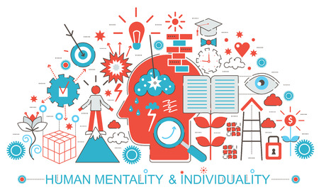 mentality: Modern Flat thin Line design Human mentality and individuality features. concept for web banner website, presentation, flyer and poster