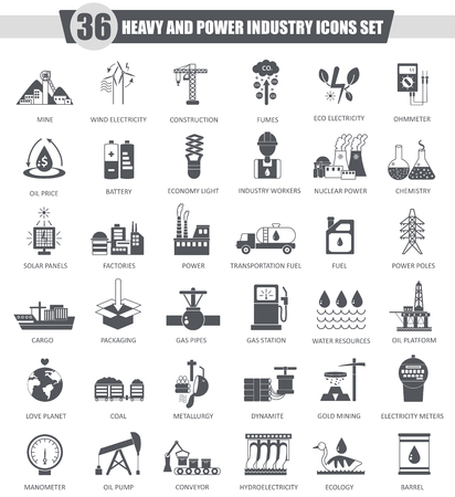 heavy: Vector heavy and power industry black icon set. Dark grey classic icon design for web Stock Photo