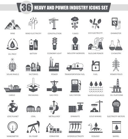 heavy set: Vector heavy and power industry black icon set. Dark grey classic icon design for web Stock Photo