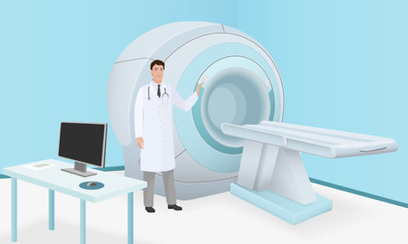 Doctor invites patient to body brain scan of MRI machine. MRI scan and diagnostics process in procedure room. Realistic vector Stock Photo
