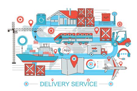 Modern Flat thin Line design Delivery logistics cargo service concept for web banner website, presentation, flyer and poster