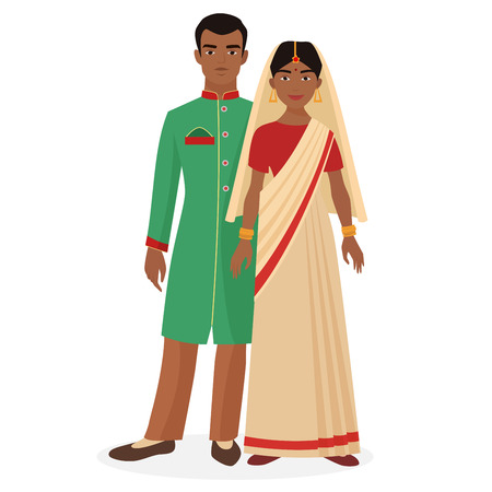 Indian family. Indian man and woman couple in traditional national clothes