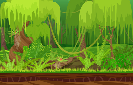 morning dew: Cartoon color nature tropical rain forest landscape in sun day with grass, trees with liana. Vector game style illustration. Background for games