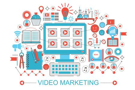 advertisment: Modern Flat thin Line design digital video marketing online advertisment concept for web banner website, presentation, flyer and poster Stock Photo